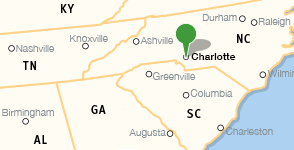 Map showing location of Charlotte Mecklenburg Library