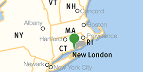 Map showing location of Connecticut College