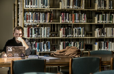 Student studying in Eastern Kentucky University Library