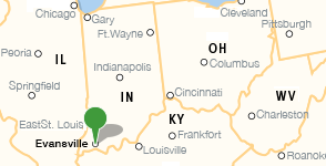 Map showing location of Evansville Vanderburgh Public Library