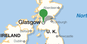 Map showing location of University of Glasgow