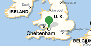 Map showing location of University of Gloucestershire