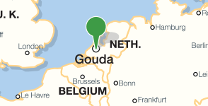 Map showing location of the Public Library of Gouda