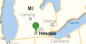 Map showing location of Hillsdale College