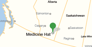 Map showing location of Medicine Hat College