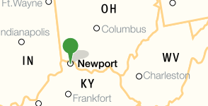Map showing location of Northern Kentucky University