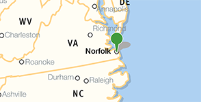 Map showing location of Norfolk Public Library