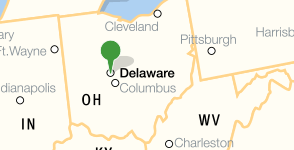 Map showing location of Ohio Wesleyan University