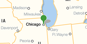 Map showing location of Pritzker Military Museum & Library