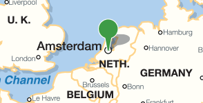 Map showing location of Rijksmuseum, Amsterdam, Netherlands