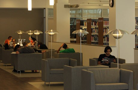 Students reading in Saddleback College Library