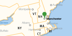 Map showing location of Saint Anselm College