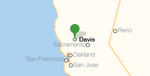Map showing location of University of California, Davis