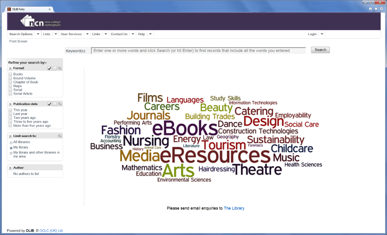 Screen capture showing a tag cloud