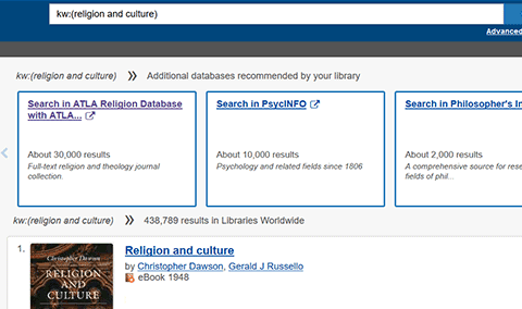 Screenshot of database recommendations