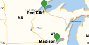 Mapa de la ubicación de University of Wisconsin - Madison y Red Cliff Band of Lake Superior Chippewa