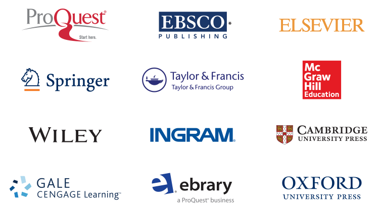 Logotipos de algunos de nuestros socios de la base de conocimiento de WorldCat: ProQuest, EBSCO, Elsevier, Springer, Taylor and Francis, McGraw Hill Education, Wiley, Ingram, Cambridge University Press, Gale Cengage Learning, ebrary, Oxford University Press.