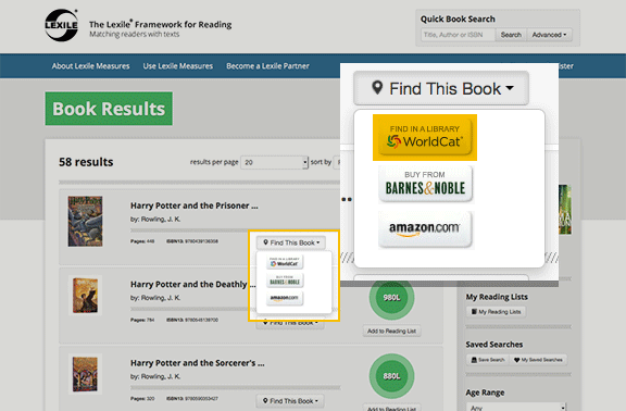 Illustration: lien 'Find in a Library' link deLexile Framework for Reading