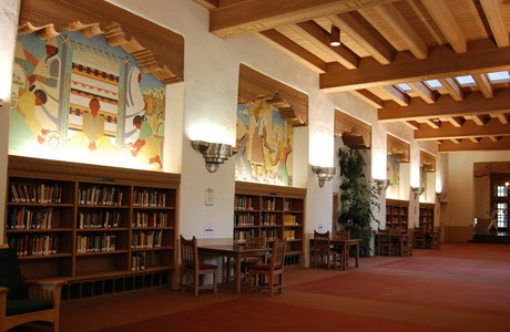 Afbeelding van de Zimmerman Library aan de University of New Mexico