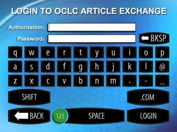 Login Screen to OCLC