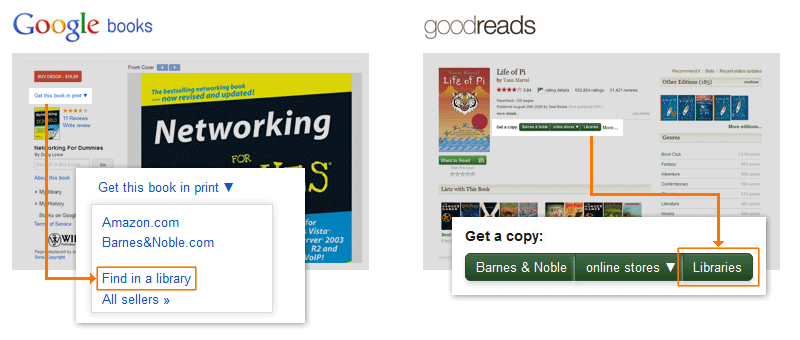 Illustration: 'Find in a library' links in Google Scholar and Goodreads