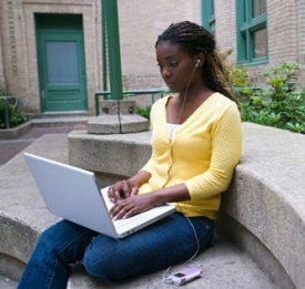 African American woman on laptop