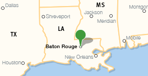 Carte indiquant l'emplacement de la East Baton Rouge Parish Library