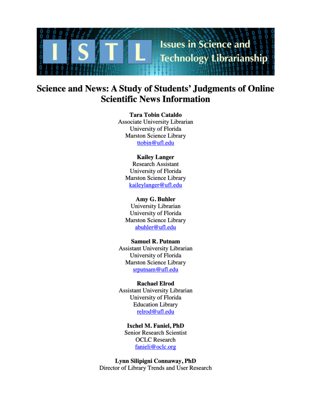 A Study of Students' Judgments of Online Scientific News Information
